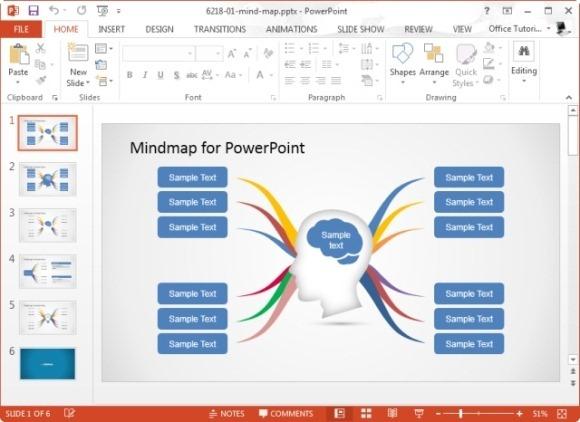 mapa mental en power point creativo